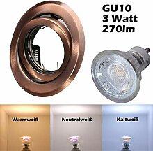 COB LED Einbaustrahler 230 Volt 3 W GU10 Einbau