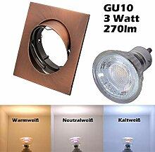 COB LED Einbaustrahler 230 Volt 3 W GU10 Lampe
