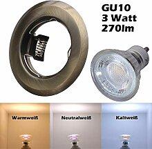 COB LED Einbaustrahler 230 Volt 3 W GU10 Set