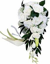 Cobeky Hochzeits-Brautstrauß, handgebunden,