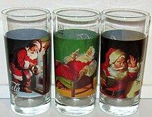 /Coca Cola Glas Glas/Retro/Weihnachten/Santa / 3 x