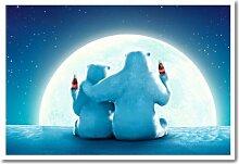 Coca Cola Weihnachten Eisbären Mond Poster Kork