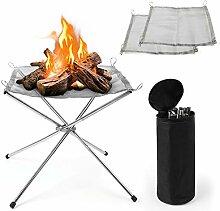 COCHIE Camping Feuerschale Edelstahl Klein Faltbar