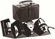 Cocktail Bar Set with Hard Leatherette Covered Carrying Case by Franmara