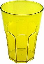 Cocktail Glas aus Hartes Kunststoff von Doimoflair Rocks 35 cl Dürsichtigen Gelb Mehrwegbecher aus hartes Plastik Policarbonat Set 10 stk. stapelbar partygeschir bruchfestes spülmaschinenfest Caipirinha Becher Longdrink Whisky gläser.