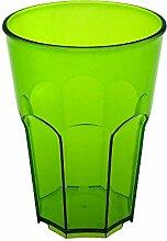 Cocktail Glas aus Hartes Kunststoff von Doimoflair Rocks 35 cl Dürsichtigen Hellgrün Mehrwegbecher aus hartes Plastik Policarbonat Set 10 stk. stapelbar partygeschir bruchfestes spülmaschinenfest Caipirinha Becher Longdrink Whisky gläser.