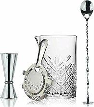 Cocktail-Mix-Set aus Glas, Hawthorne-Sieb,