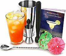 Cocktail-Set, Profi-Set mit Rezeptbuch, Boston Cocktailshaker, Cocktail-Stößel, Barmaß, Löffel und 24 Papierschirmchen