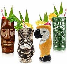 Cocktail-Tiki-Tassen, Set mit 4 Stück, Keramik,