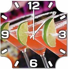 Cocktails, Design Wanduhr aus Alu Dibond zum Aufhängen, 48 cm Durchmesser, schmale Zeiger, schöne und moderne Wand Dekoration, mit qualitativem Quartz Uhrwerk