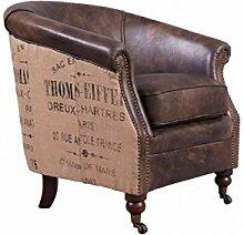Cocktailsessel Ashbourne Vintage-Leder Jute Echtleder Sessel graubraun