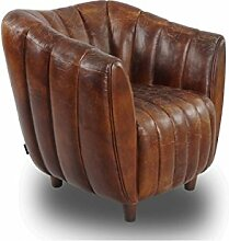 Cocktailsessel Juniper gerippt, Vintage Leder Echtleder Sessel