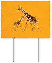 Cocoal-ltd Wildtier-Giraffen-Bild Hofschild Rasen