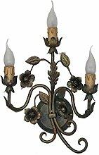 COD.40163–Beleuchtung für Innen Kronleuchter Wandleuchte grün antik in Schmiedeeisen, hergestellt in Italien von Valastro Beleuchtung