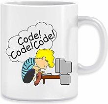 Code! Code! Code! Kaffeebecher Becher Tassen