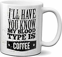 Coffee My Blood Type Starbucks Fun Logo Kaffeetasse Tee Tasse Becher 312ml/11 Oz.Weiß Neuheit Komisch Kostenloser Versand