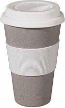 Coffee to-go Becher - biologisch abbaubar aus Bambusfasern und Mais, Farbe:Stone Grey