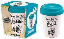 Coffee to go Becher GLÜCKLICH für 350ml weiß blau Bambusfaser Geschenk für Dich (8,95 EUR / Stück)