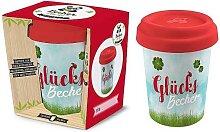Coffee to go Becher GLÜCKSBECHER für 350ml Bambusfaser Geschenk für Dich (8,95 EUR / Stück)