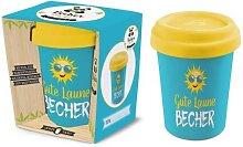 Coffee to go Becher GUTE LAUNE für 350ml blau Bambusfaser Geschenk für Dich (8,95 EUR / Stück)