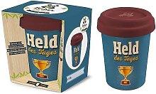 Coffee to go Becher HELD DES TAGES für 350ml blau Bambusfaser Geschenk für Dich (8,95 EUR / Stück)