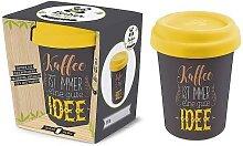 Coffee to go Becher KAFFEE IST für 350ml grau gelb Bambusfaser Geschenk für Dich (8,95 EUR / Stück)