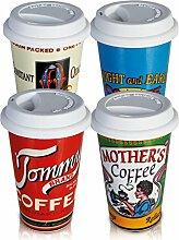 Coffee to go Becher Kaffeebecher Porzellan Retro