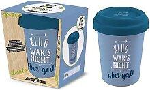 Coffee to go Becher NICHT KLUG für 350ml blau Bambusfaser Geschenk für Dich (8,95 EUR / Stück)