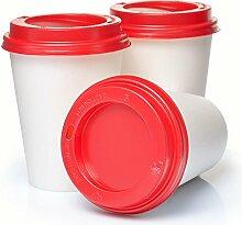 Coffee to go Becher Pappbecher weiss 200 x 0,3 l mit Deckel rot Weihnachtsbecher 300ml