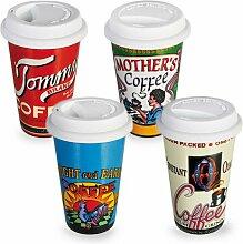 coffee to go Becher, Porzellan, mit Deckel, Kaffee