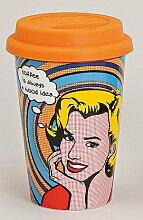 Coffee to go Becher Porzellan mit Silikondeckel im