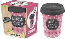 Coffee to go Becher SCHÖN für 350ml rosa Bambusfaser Geschenk für Dich (8,95 EUR / Stück)