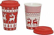 Coffee to go Kaffee Becher Porzellan mit Deckel