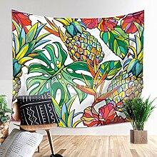 COLDTUTU-Dekorative Polyester Wand hängende Tapisserie Strand Handtuch abstrakt künstlerischen Wand Dekor böhmischen Tag Sofa Abdeckung,Flamingo Ananas Kokosnuss Tapisserie, P1-130H * 150Wcm