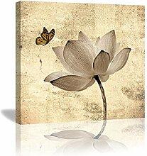 Colla Vintage Lotusblume, gelber Schmetterling,