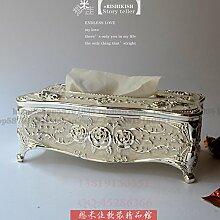 COLLECTOR Gewebe Box Stil kreative American pastoral Buch Box high-End Luxus Heimtextilien Schmuck Hochzeit Geburtstag,Silber fällt der Weißleim
