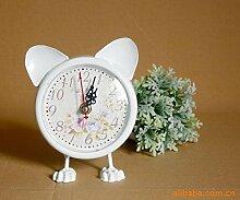 COLLECTOR Heimtextilien in Europa Cartoon Katzen und Rosen große weiße schmiedeeiserne Uhr exportier
