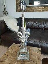 COLMORE ALU Lampe 49cm Lilie Tischlampe silber