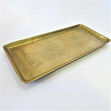 3er-SET Tablett DEKO-SCHALE  METALL SHABBY Antik Vintage Landhaus Braun Bronze