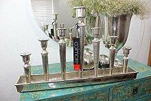 COLMORE XXL 73cm Kerzentablett Kerzenständer Silber Kerzenhalter Kerzenleuchter Alu massiv