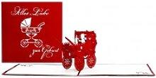 Colognecards Pop-Up Karte Kinderwagen rot