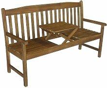 Colombo Gartenbank 3-Sitzer mit ausklappbaren Tisch / Bank / Balkonbank / Holzbank aus Eukalyptus