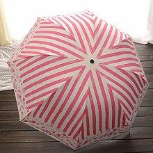 Color Stripes Umbrella Fold Regenschirme Vinyl Ultra UV Schutz Sonnenschutz Sonnenschirm ( Farbe : Rot )