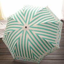 Color Stripes Umbrella Fold Regenschirme Vinyl Ultra UV Schutz Sonnenschutz Sonnenschirm ( Farbe : Grün )