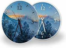 Colorado - Lautlose Wanduhr mit Fotodruck auf Polycarbonat | geräuschlos kein Ticken Fotouhr Bilderuhr Motivuhr Küchenuhr modern hochwertig Quarz | Variante:30 cm rund mit schwarzen Zeigern - GERÄUSCHLOS