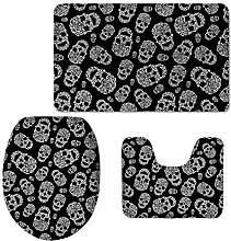 Coloranimal Personalized Skull Black Bath Mat Set