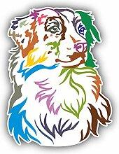 Colorful Australian Shepherd Dog - Self-Adhesive