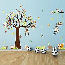 Colorful Baum Eulen Affen Vögel Schmetterlinge Igel Fuchs Baum Wand Aufkleber PVC Home Aufkleber House Vinyl Papier Dekoration Tapete Schlafzimmer Küche Kunst Bild DIY Wandmalereien Mädchen Jungen Kids Baby Spielzimmer