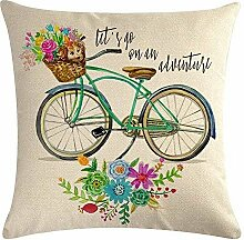 Colorful Bicycle Throw Pillow Cover Vintage