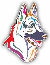 Colorful German Shepherd Dog - Self-Adhesive